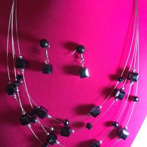 Black square invisible necklace & earrings